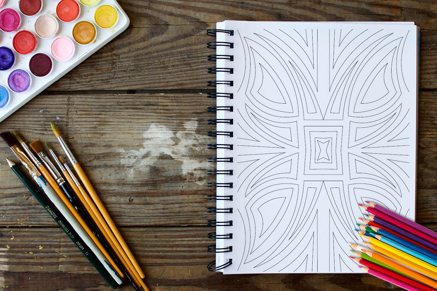 Geometric Patterns Coloring Book 30 Geometric Designs example image 2