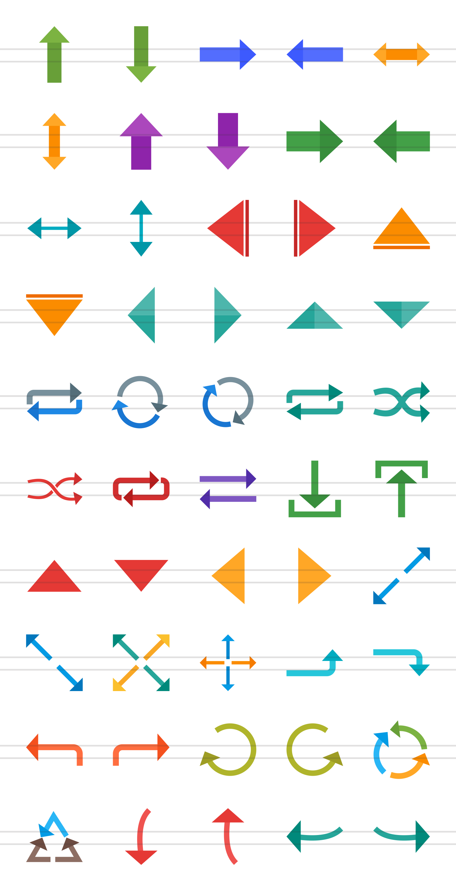 50 Arrows Flat Multicolor Icons example image 2