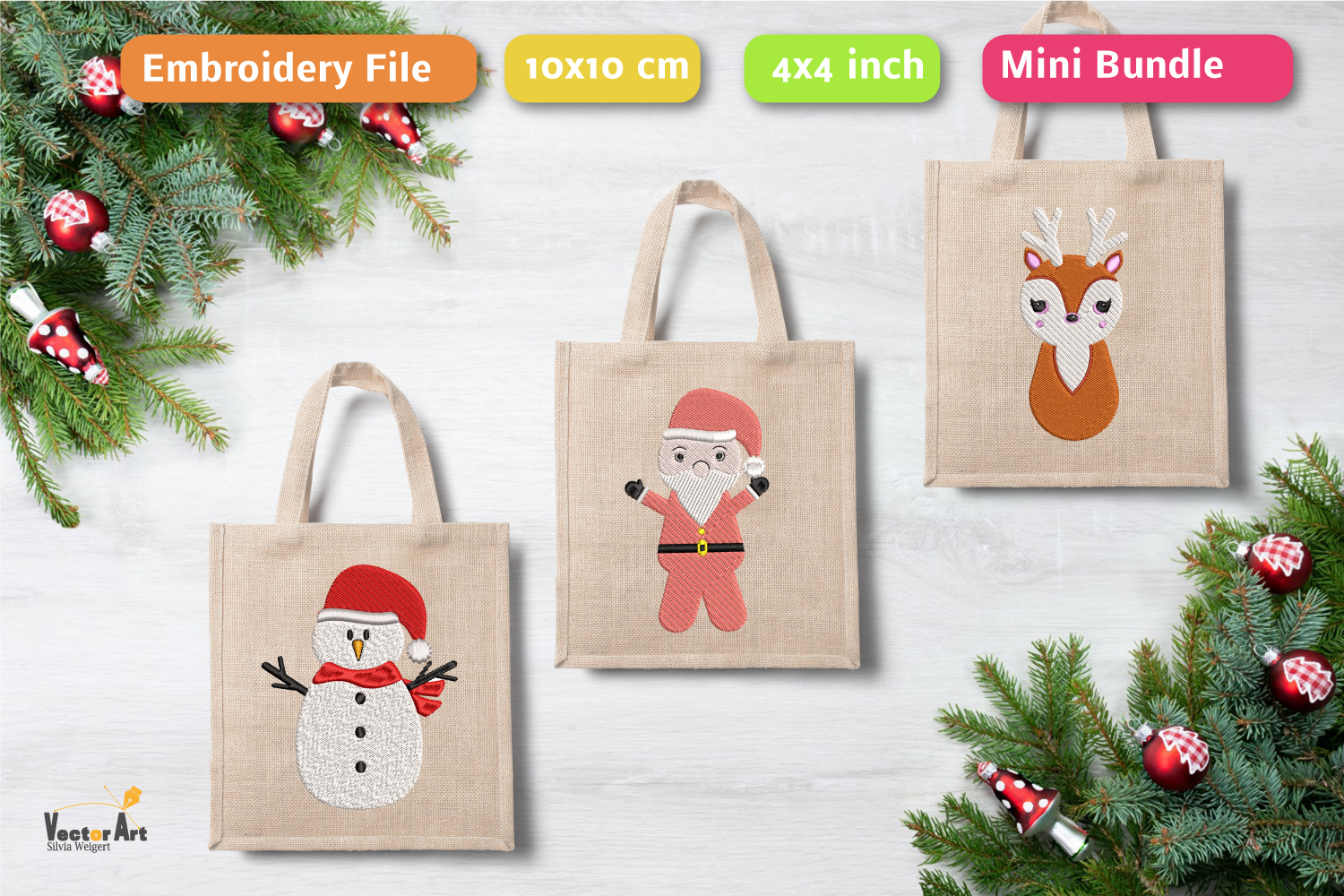 Christmas Mini Bundle - 3 Embroidery Files - 4x4 inch example image 1