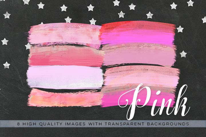 Watercolor brush strokes clip art, pink brush clipart, watercolor paint clipart, pink wedding Paint Clipart, pink ink strokes clipart, example image 3