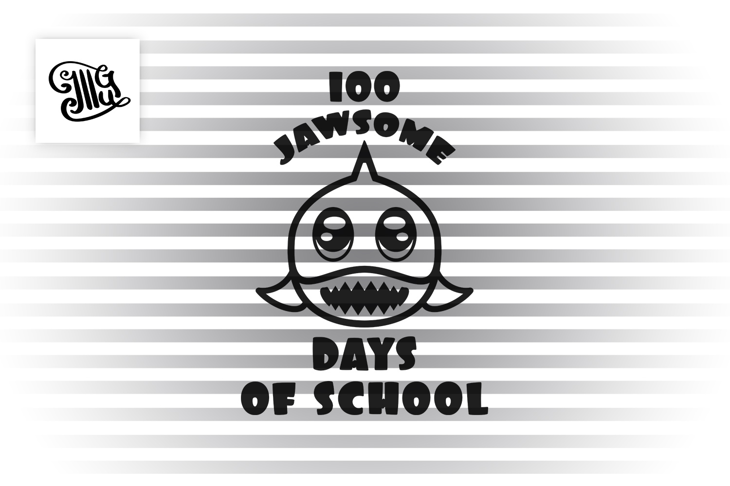 100 days of school for boys svg with shark example image 2