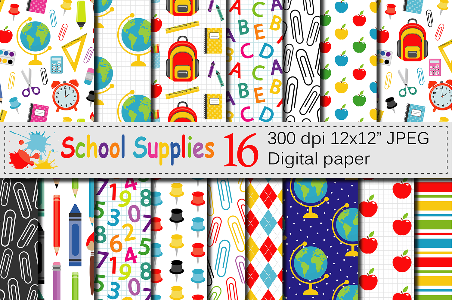 Back to School Digital paper School Supplies pattern School Background  Teacher Printable paper