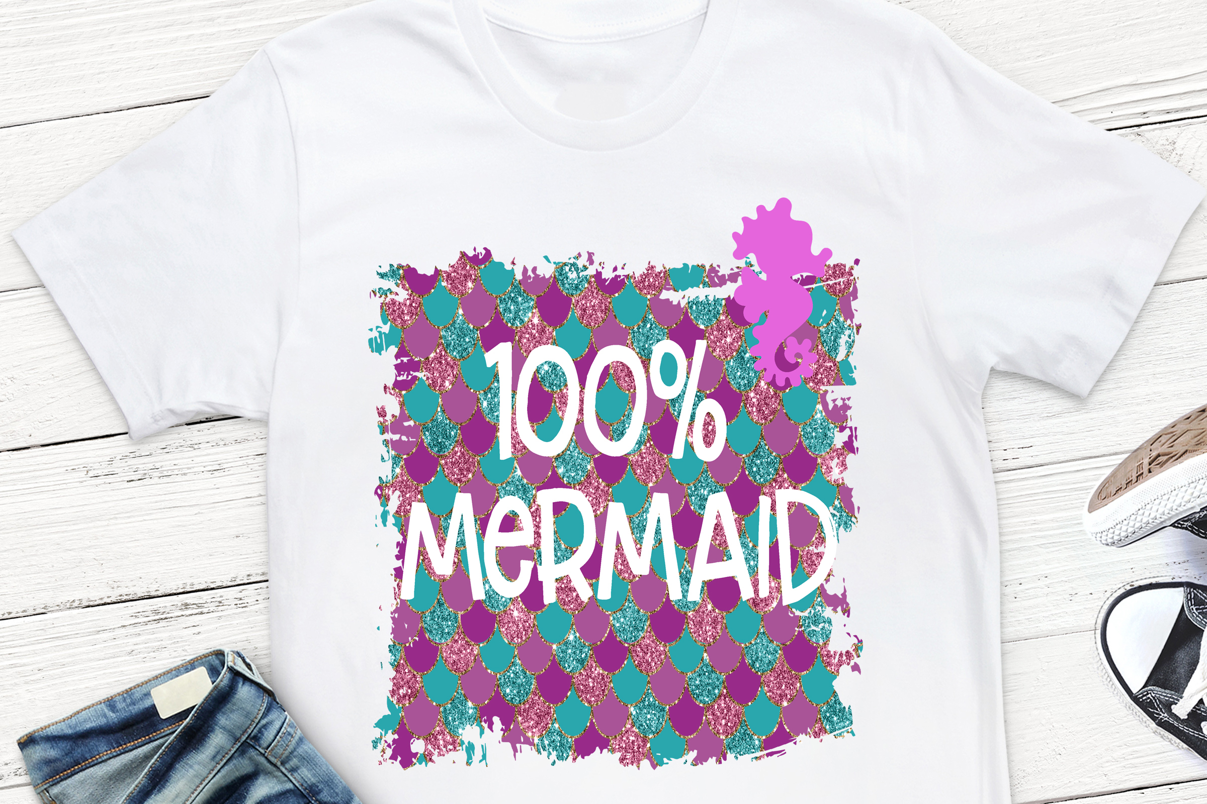 100 Percent Mermaid Dry Shampoo Sublimation Design, example image 1