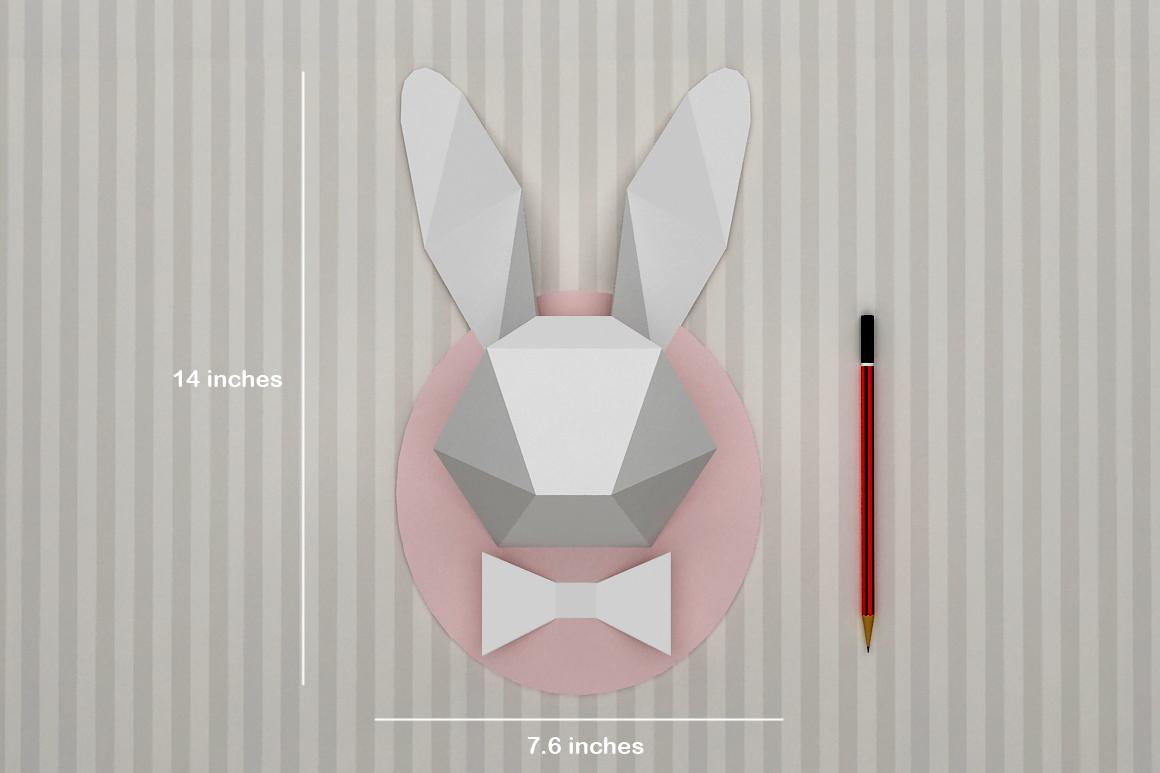 DIY Rabbit head trophy - 3d papercraft example image 4