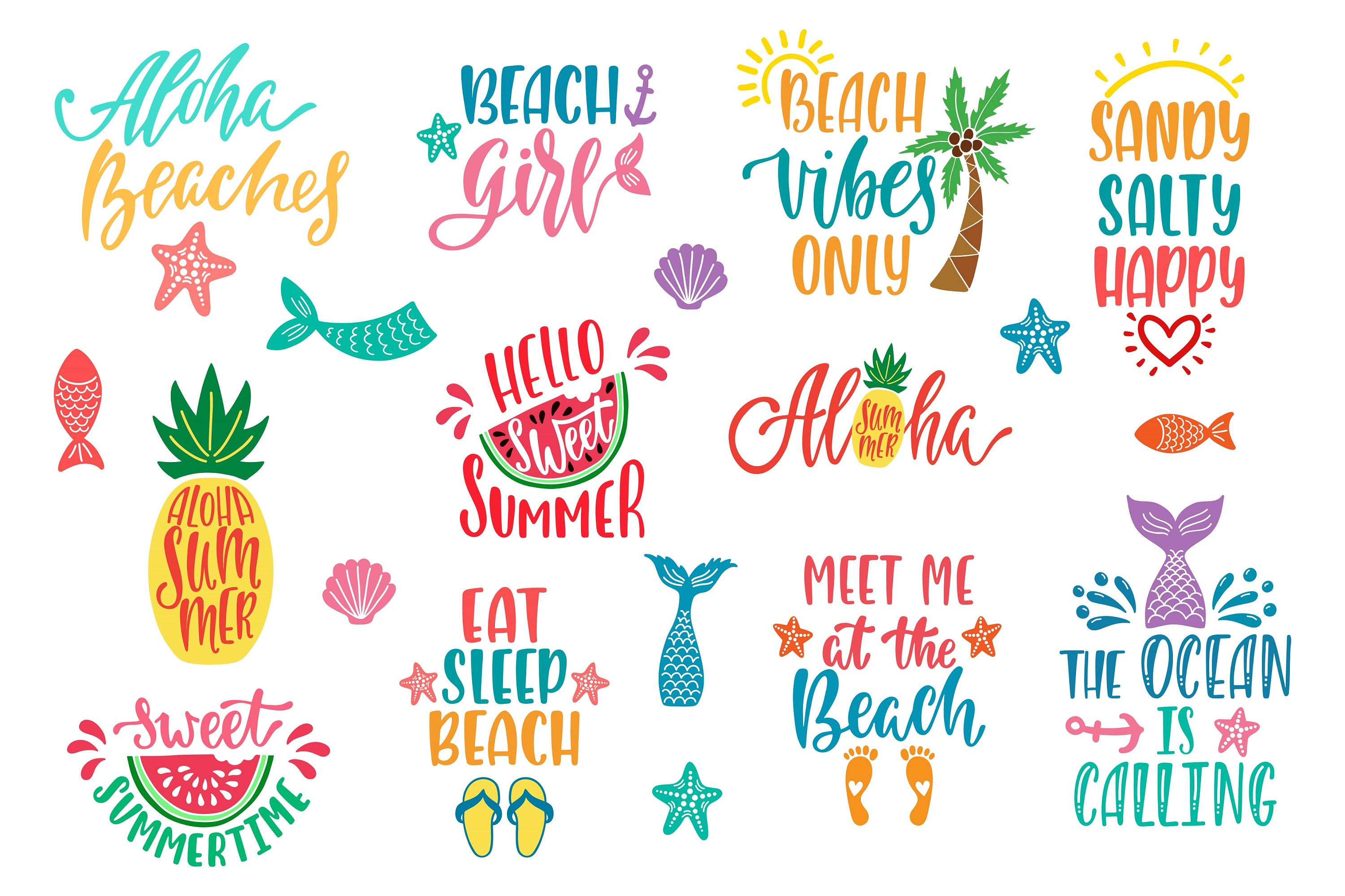 Summer Quotes Bundle SVG Vector Clip Art example image 2