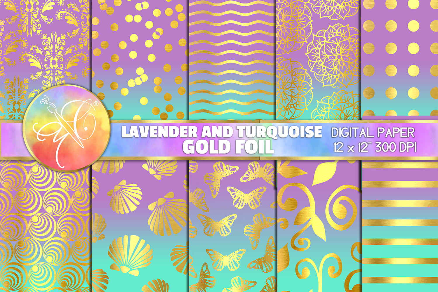Lavender and Turquoise Foil Digital Paper, Digital Backgroun example image 1