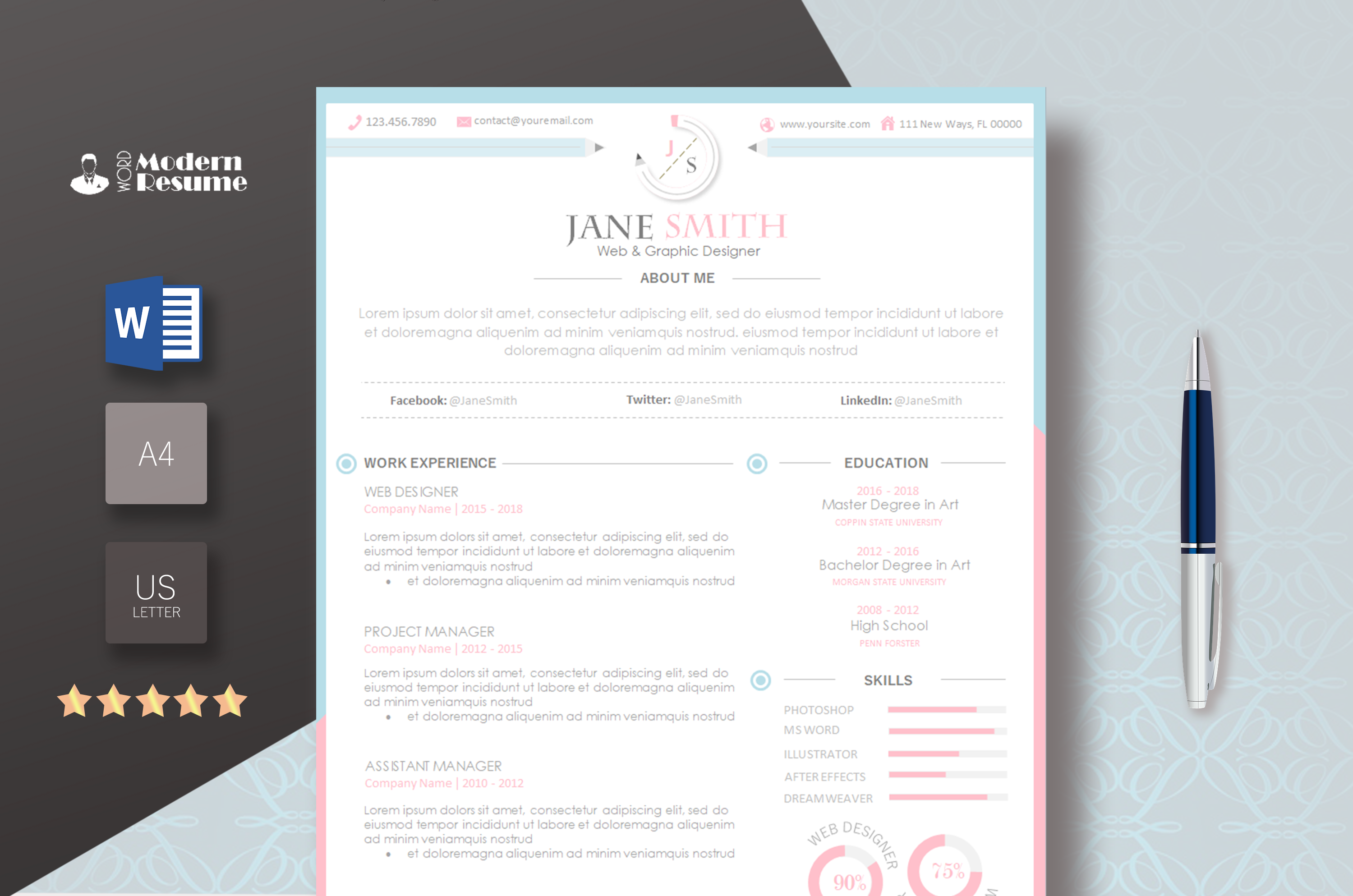 resume template pink  white