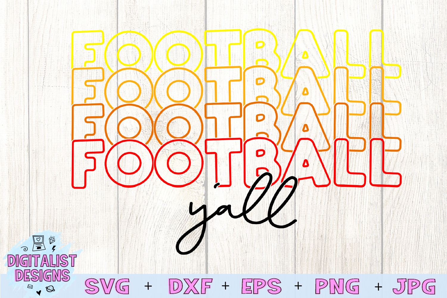 Football SVG | Football Y'all SVG | Cricut | Stacked example image 3