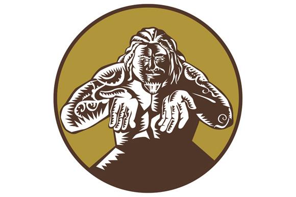 Samoan God Tagaloa Arms Out Circle Woodcut example image 1