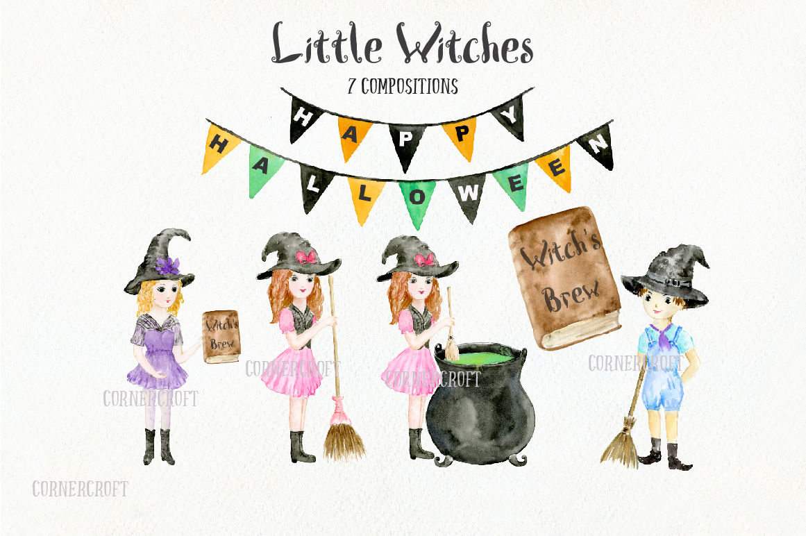 Little Witches Watercolor Design Kit example image 3