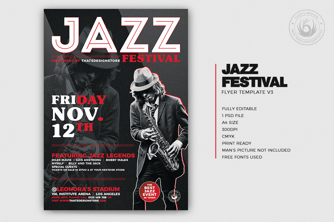 Jazz Festival Flyer Template V3 example image 2