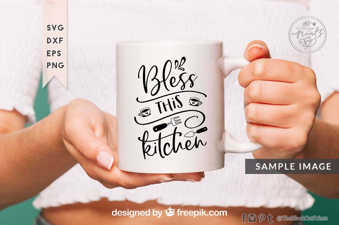 Bless This Kitchen SVG DXF PNG EPS example image 4