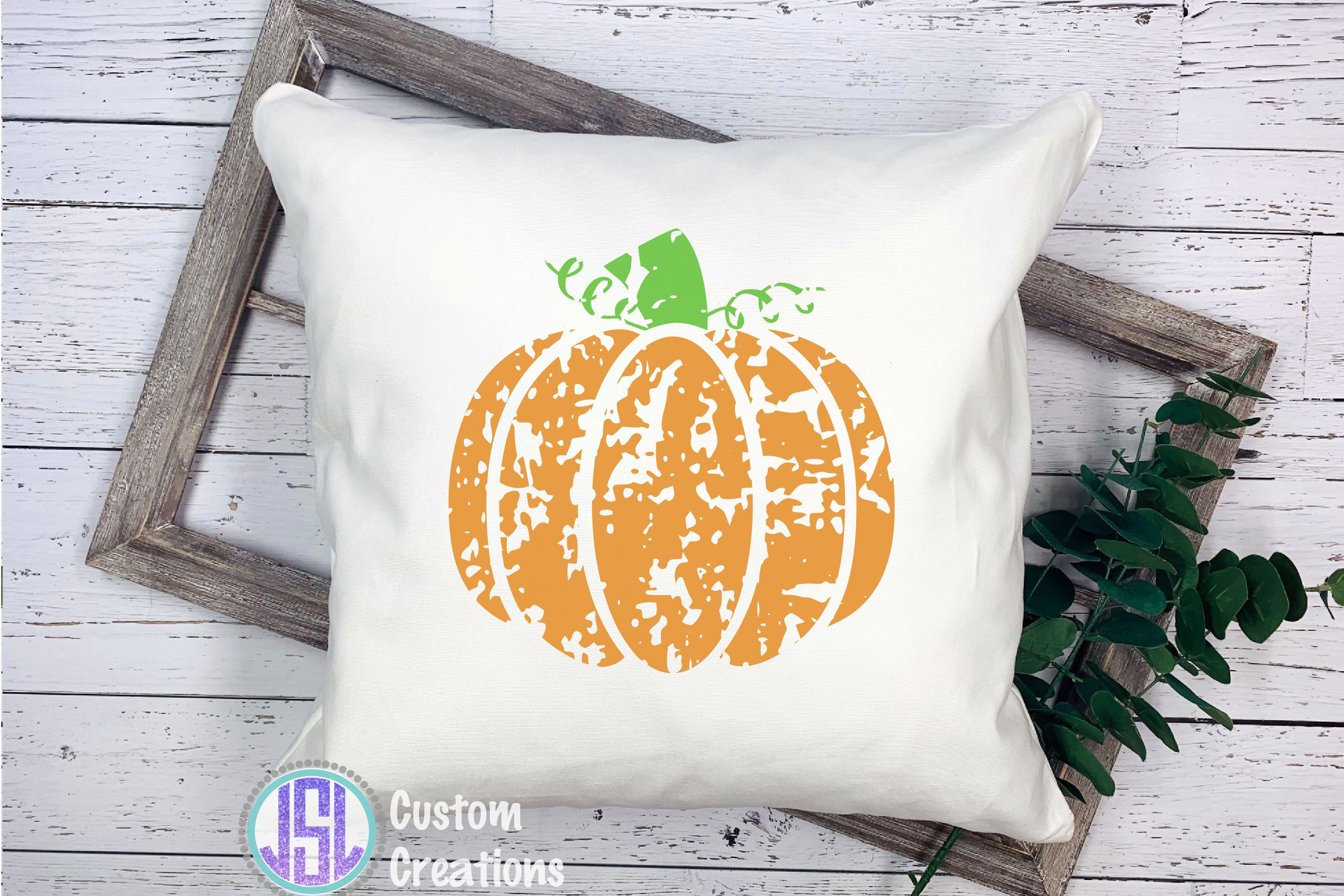 Distressed Pumpkin| SVG DXF EPS PNG Cut File example image 2