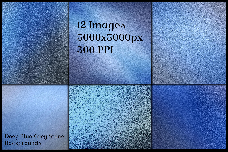 Deep Blue-Grey Stone Backgrounds - 12 Image Textures Set example image 2