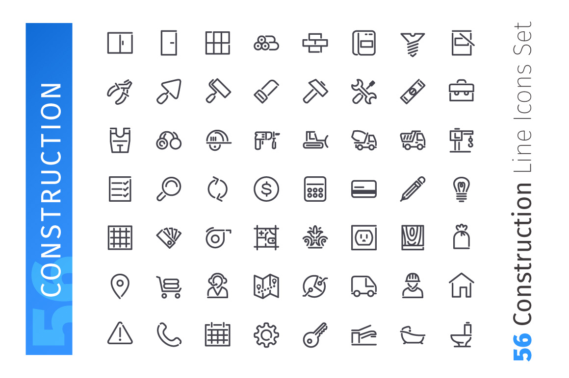 Construction Line Icons Set example image 2