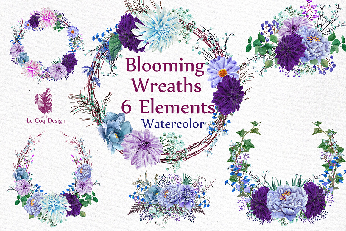 Watercolor Purple Wreaths Clipart example image 1