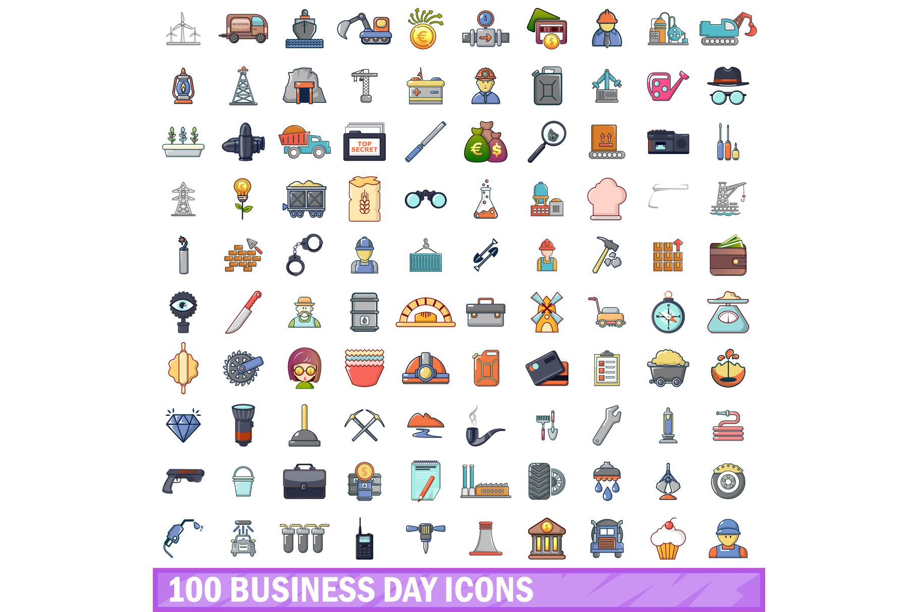 100 business day icons set, cartoon style example image 1