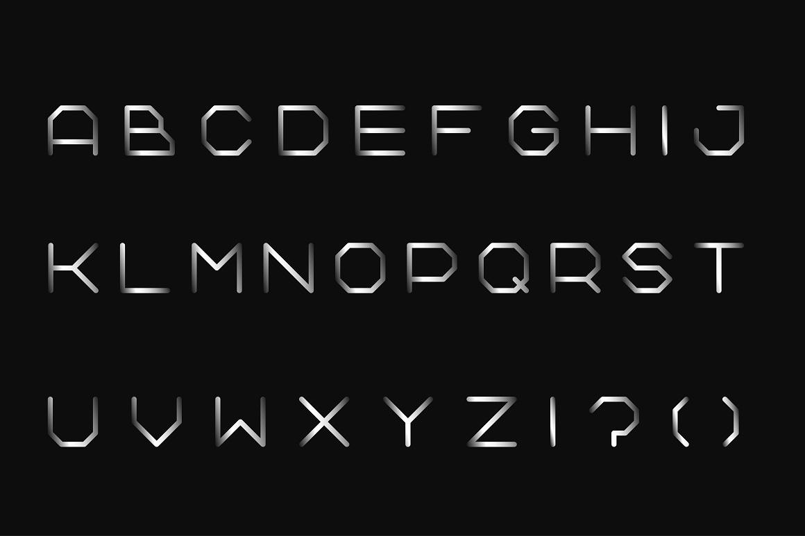 Metal font. Iron english alphabet example image 5