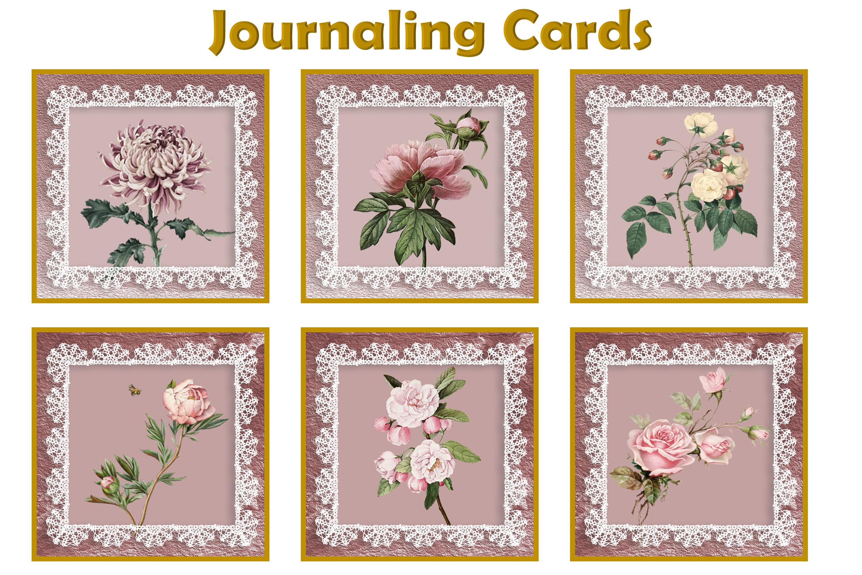 Journaling Kit Pink Botanicals with free ephemera & clipart example image 10