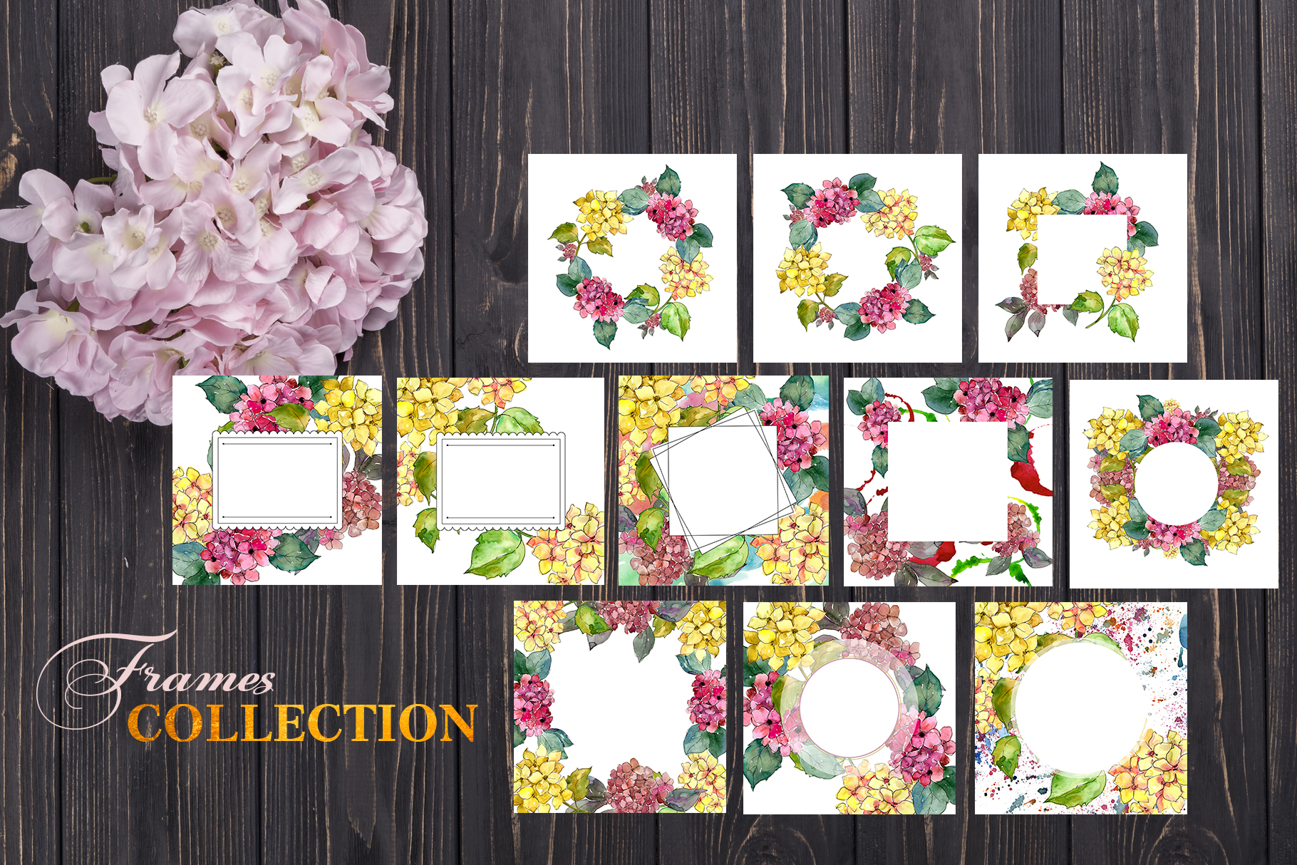 Hydrangeas Yellow-pink Watercolor png example image 5