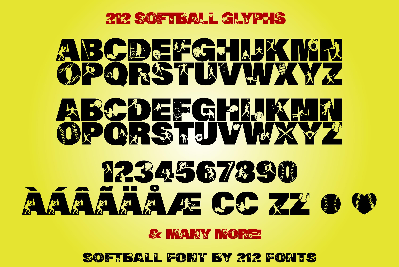 212 Softball Caps Display Font Softball Player Alphabet OTF example image 7