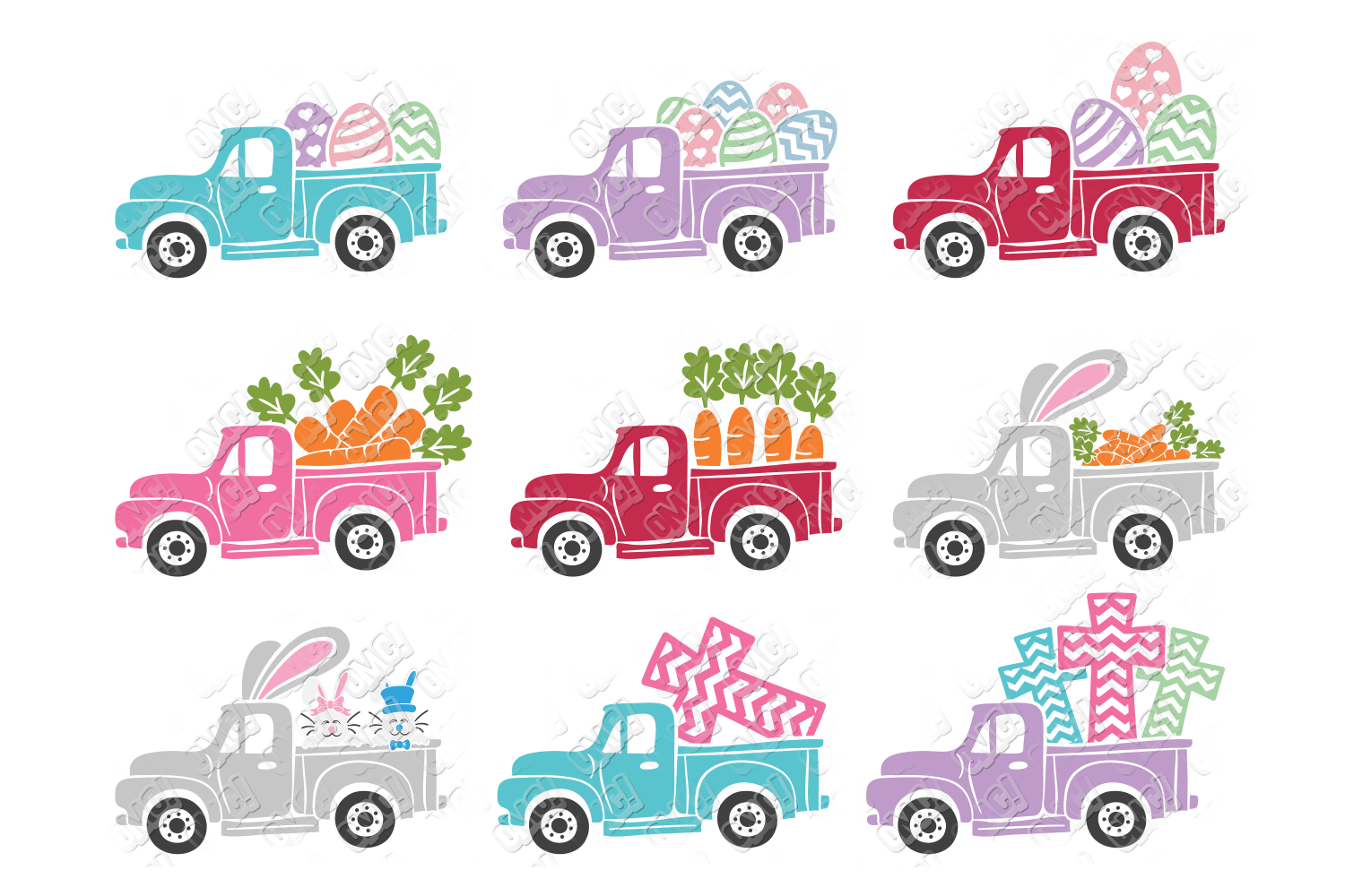 Easter Truck SVG Dump Truck in SVG, DXF, PNG, EPS, JPEG example image 2