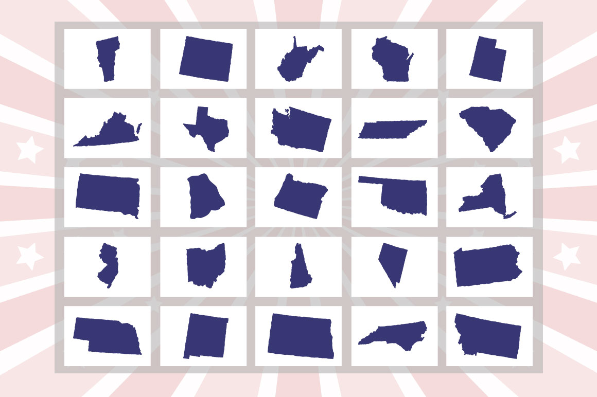 US States 4th July design Element svg example image 15