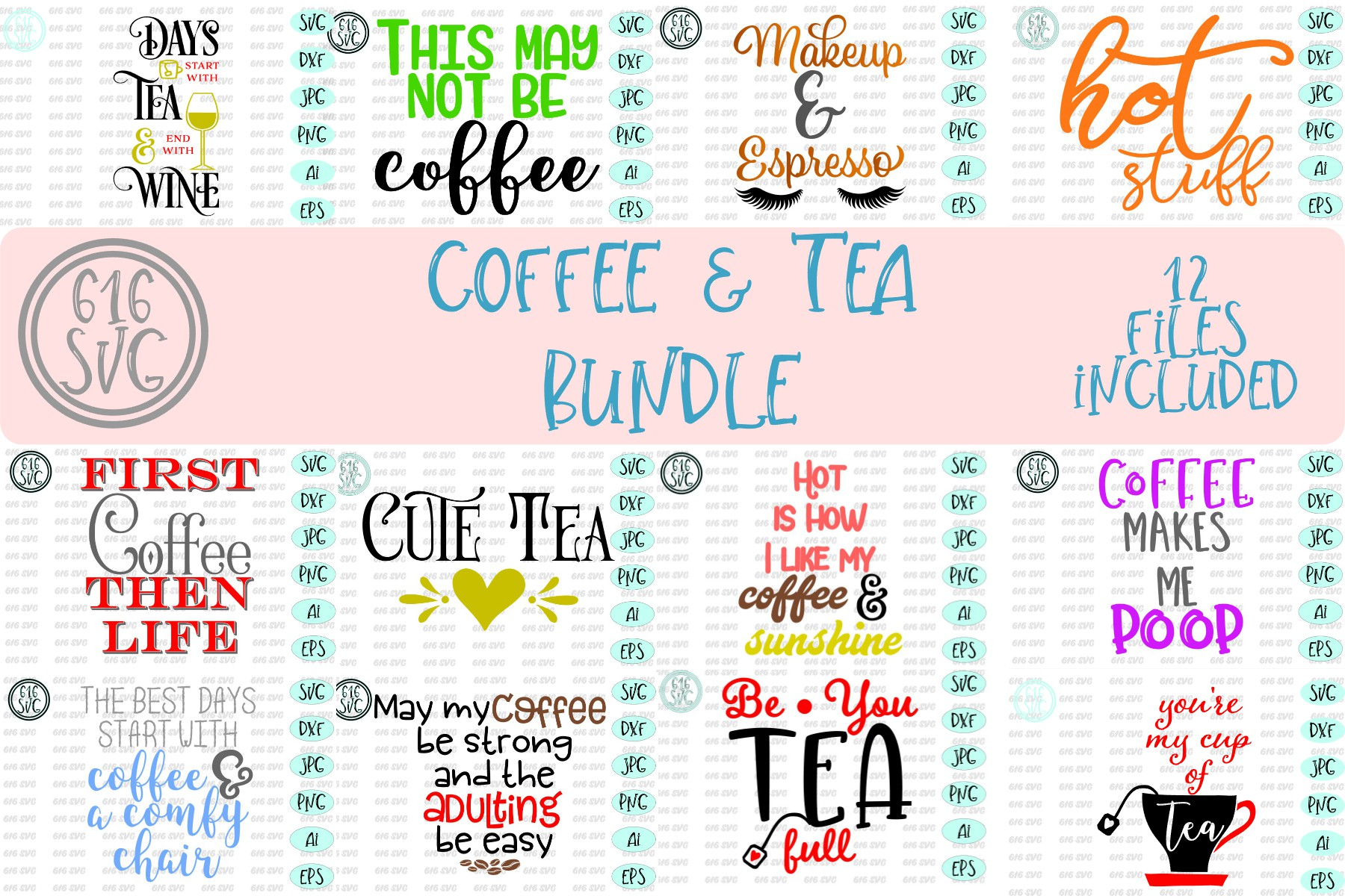 Coffee and Tea Bundle SVG, DXF, Ai, PNG example image 1