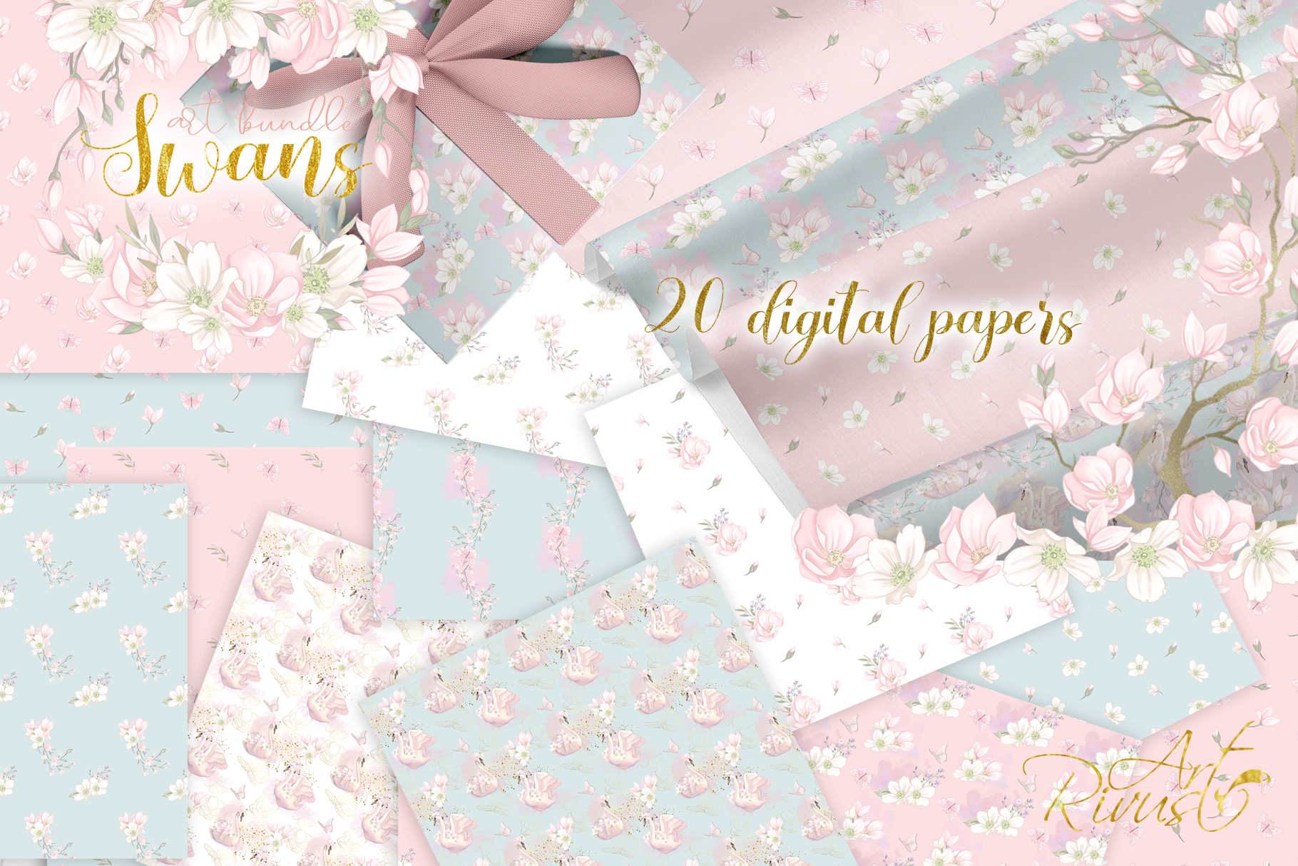 Swans clipart bundle. Wedding and baby shower graphic pack. example image 10