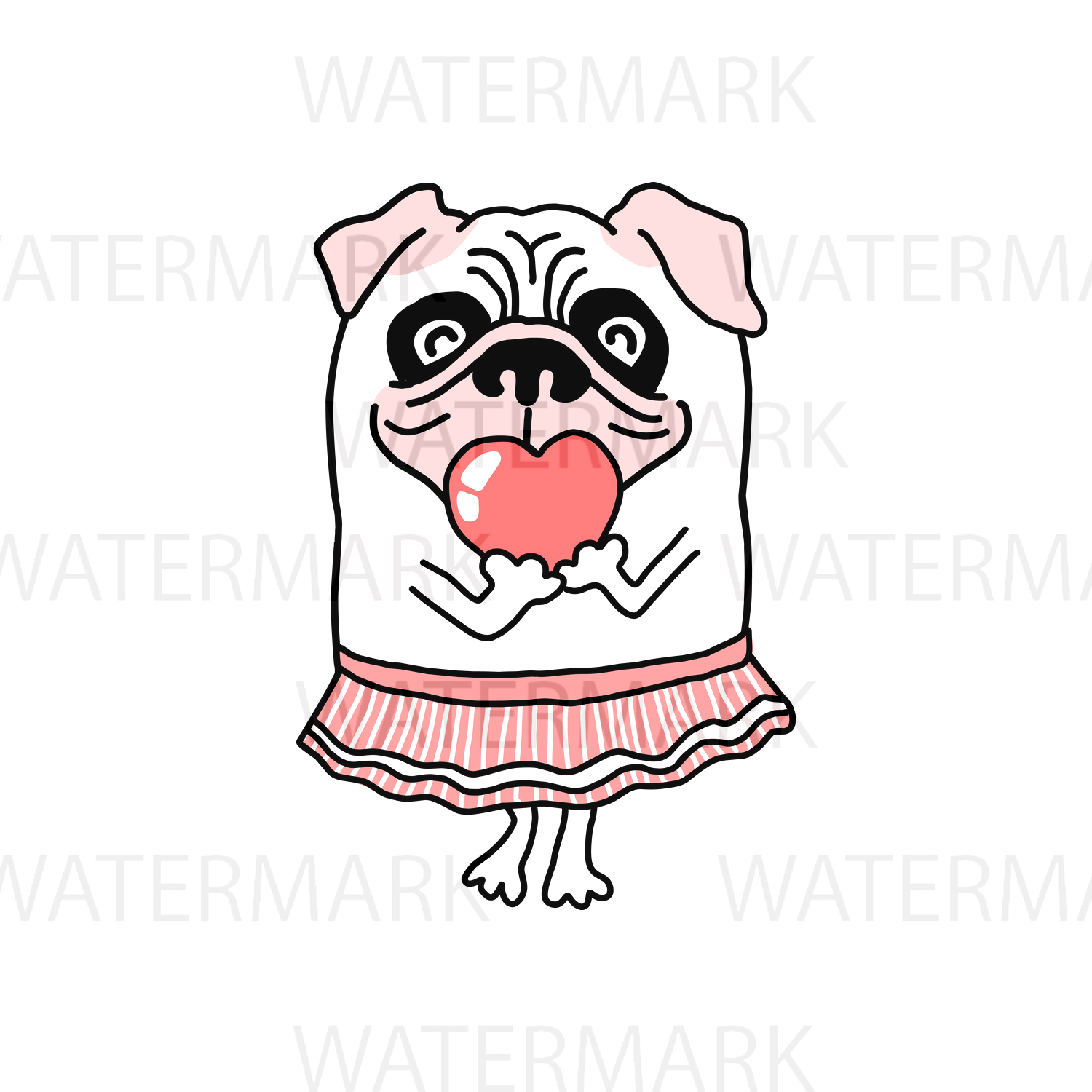 Cute Pug Dog with Cute Pink Heart - SVG/JPG/PNG Hand Drawing example image 1