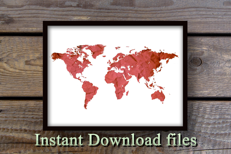 World map wall art printable download files example image 2