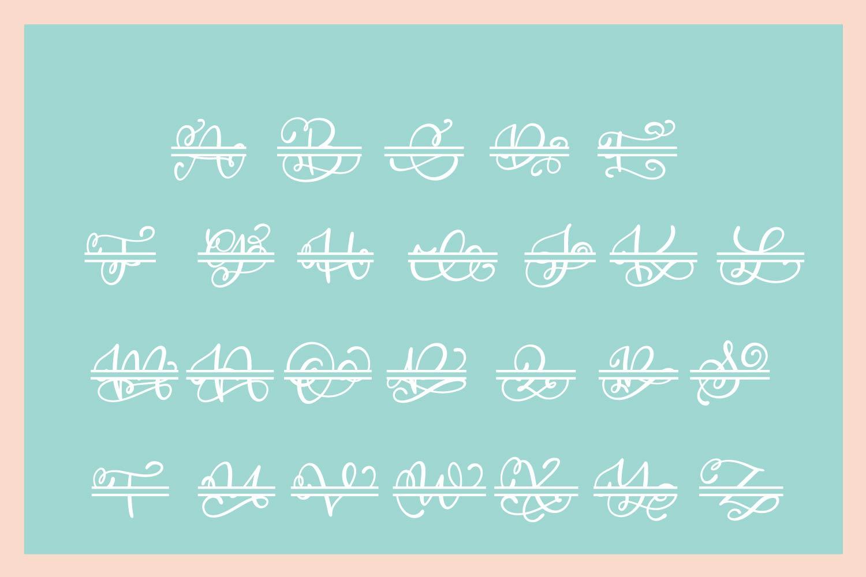 Split Monogram Alphabet Font - Hand Lettered Initials! example image 3