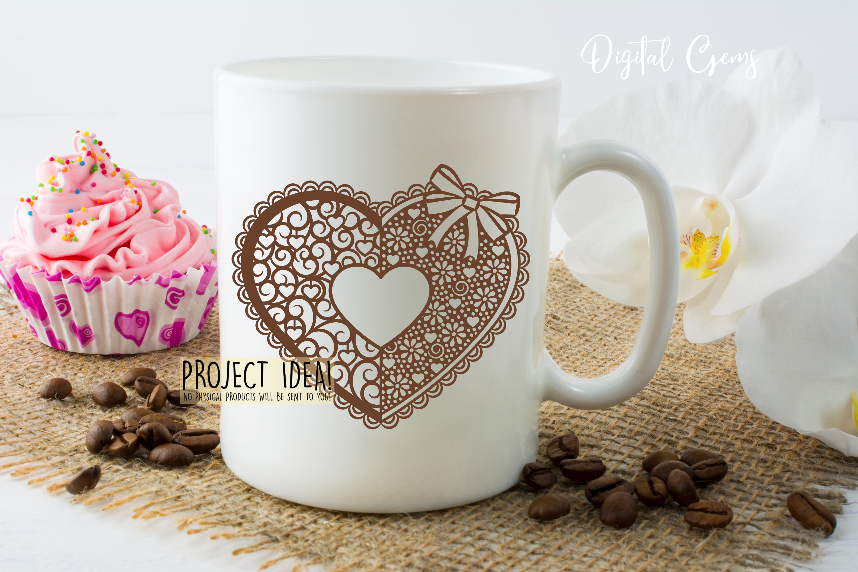 Love heart paper cut design. SVG / DXF / EPS / PNG files example image 5