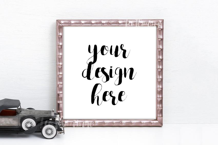 Vintage square frame mock up template Rose Gold tone example image 1