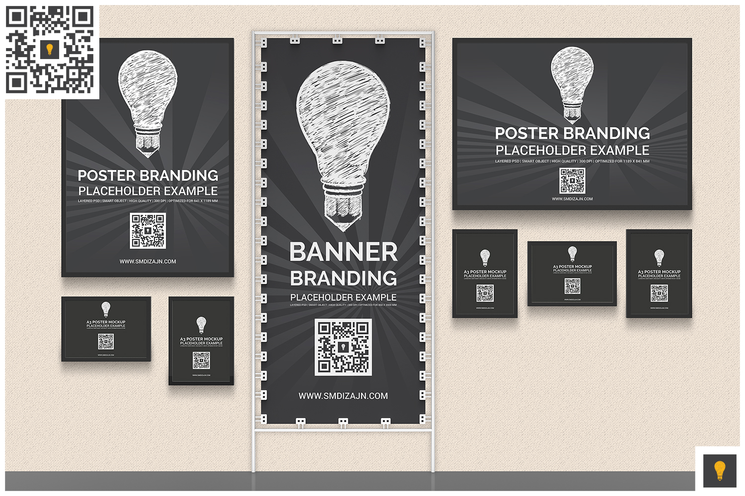 Back Wall Banner & Posters Mockup example image 2