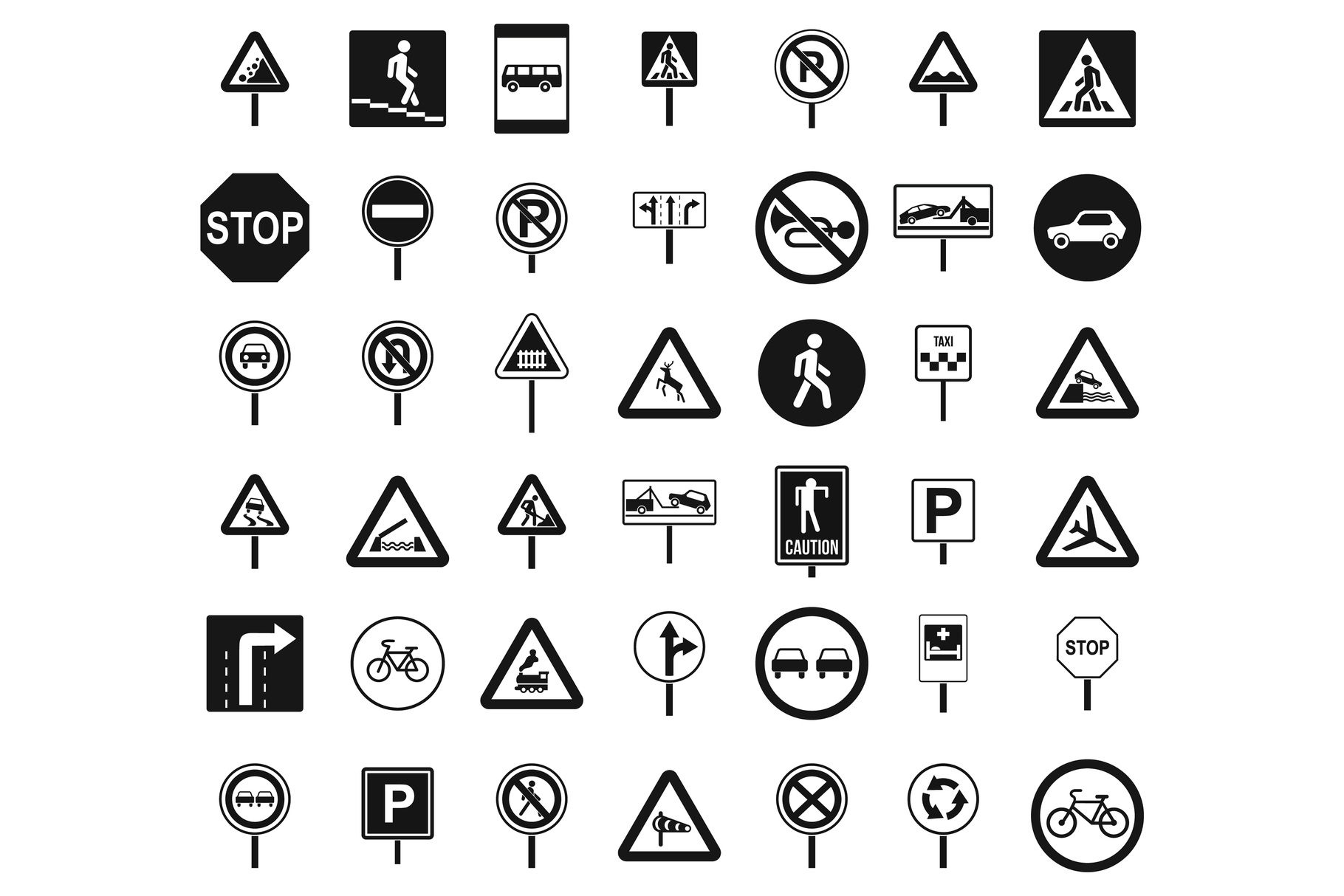 Road sings icon set, simple style example image 1