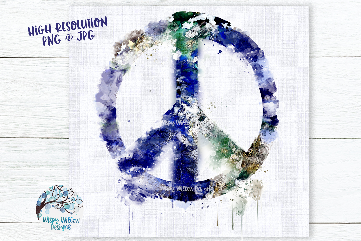 Grunge Watercolor Earth Peace Sign PNG | Sublimation example image 2