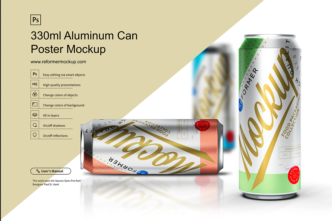 330ml Aluminum Can Poster Mockup example image 6