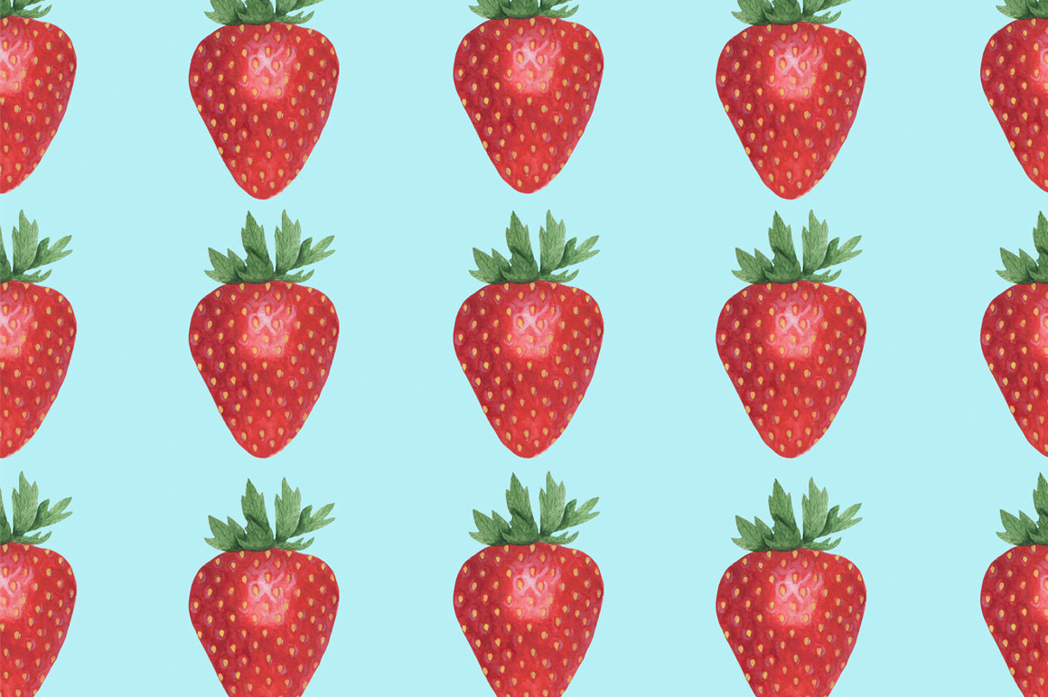 Set Strawberry Watercolor example image 2