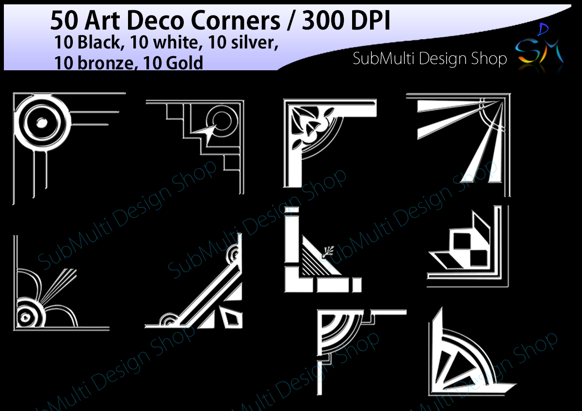 Art deco / art deco corners / art deco frames / art deco digital clipart / vector / High Quality / side corners / silhouette /digital files example image 4