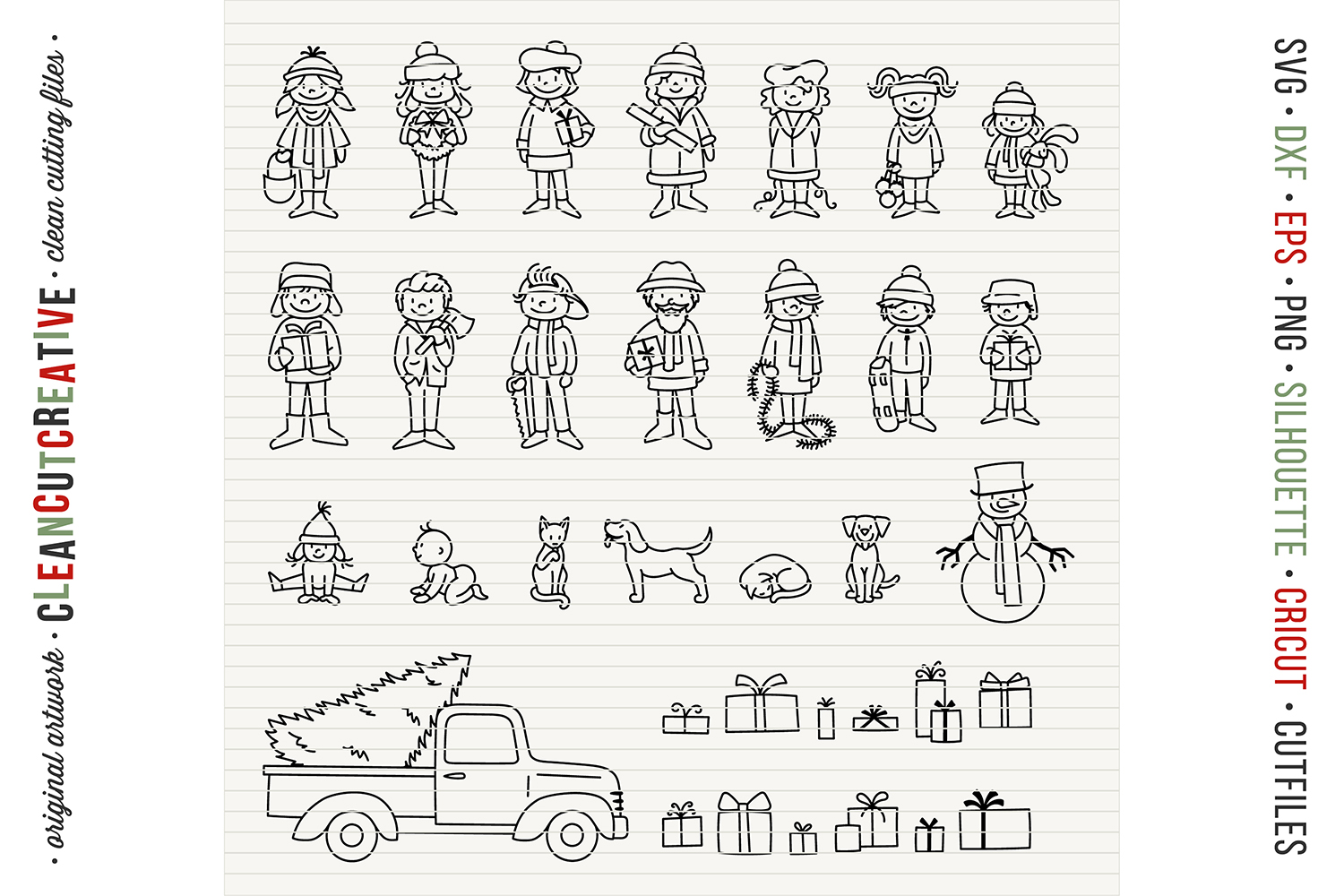 Cute Christmas Clan - Family Characters svg cutfiles vector example image 5