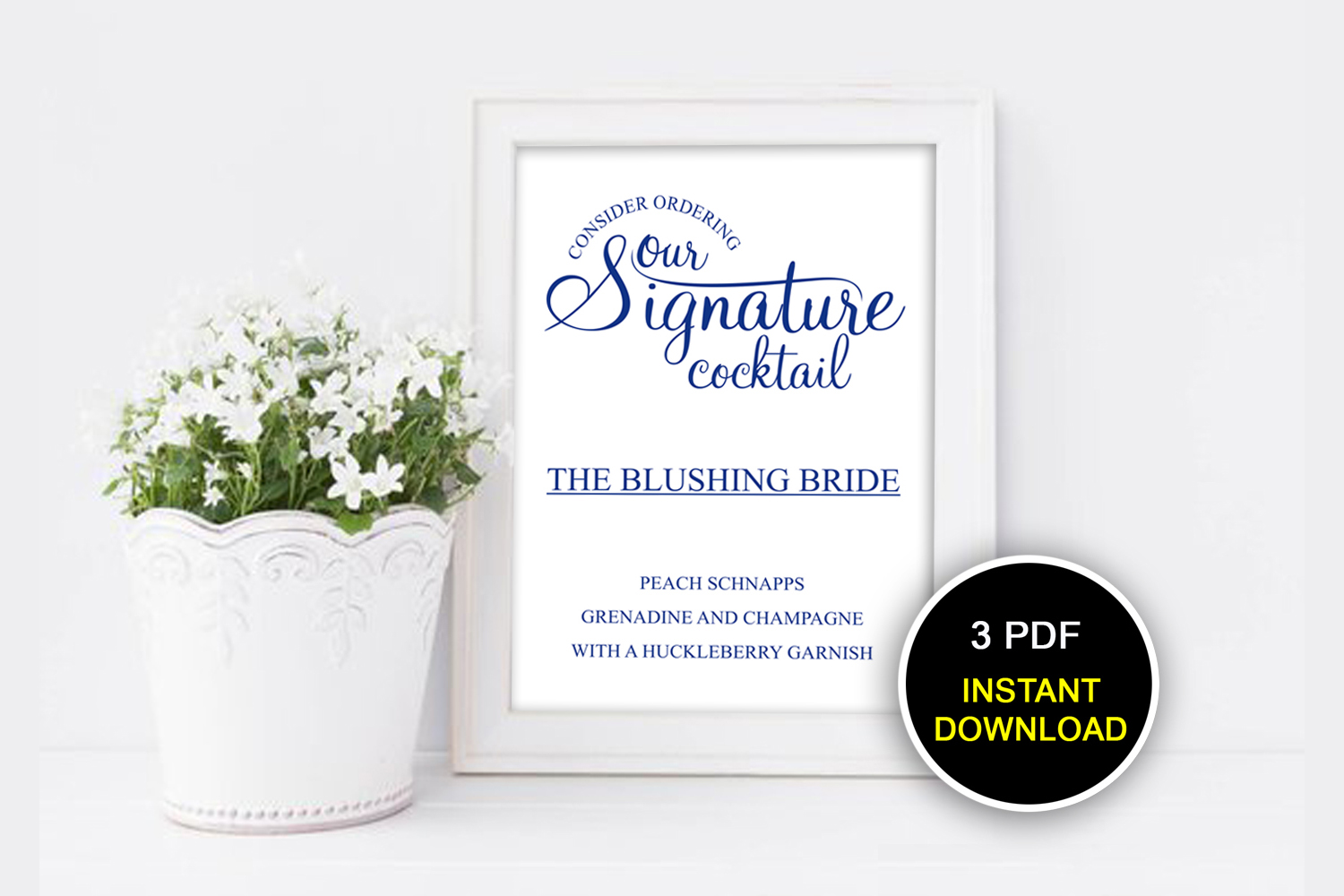 Navy Blue Signature Cocktail Sign, DAD_15 example image 1