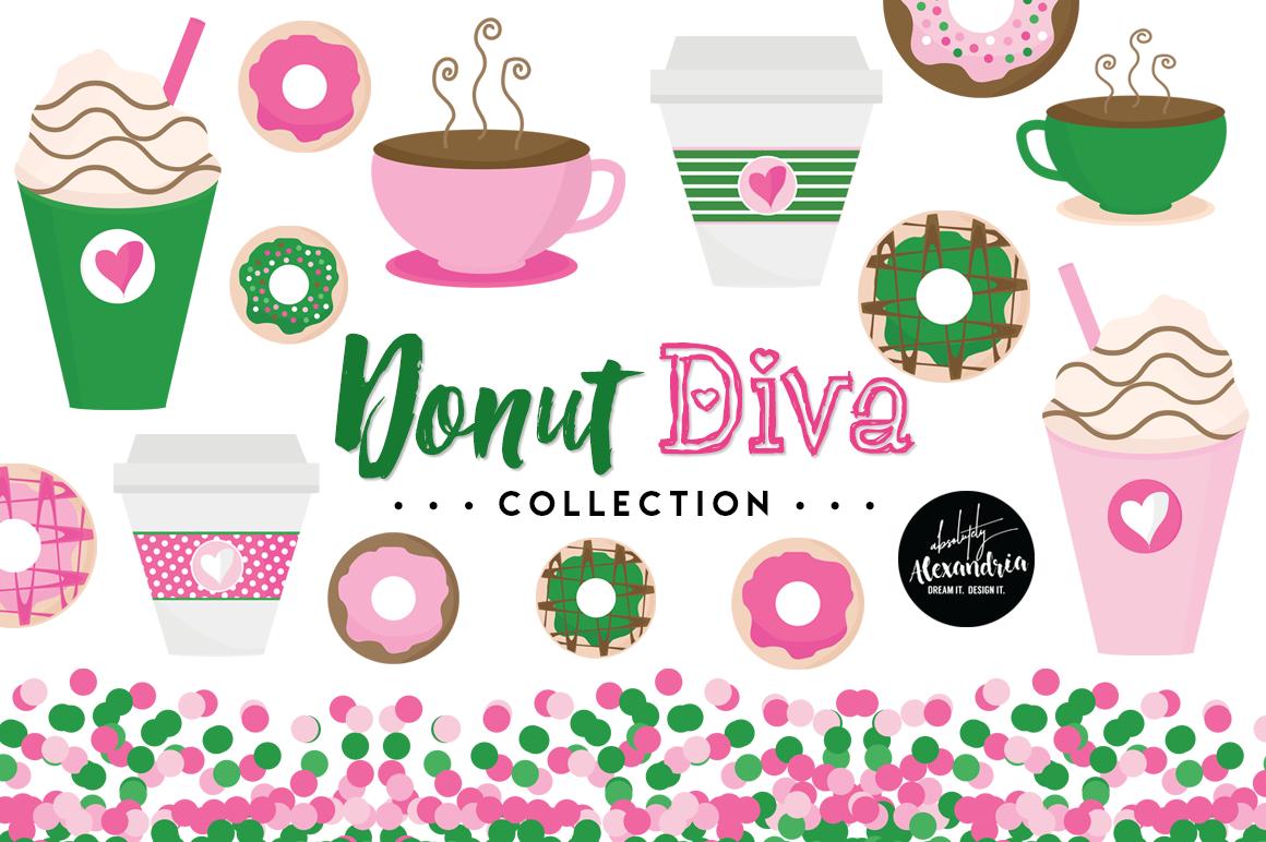 Donut Diva Clipart Graphics & Digital Paper Patterns Bundle example image 1