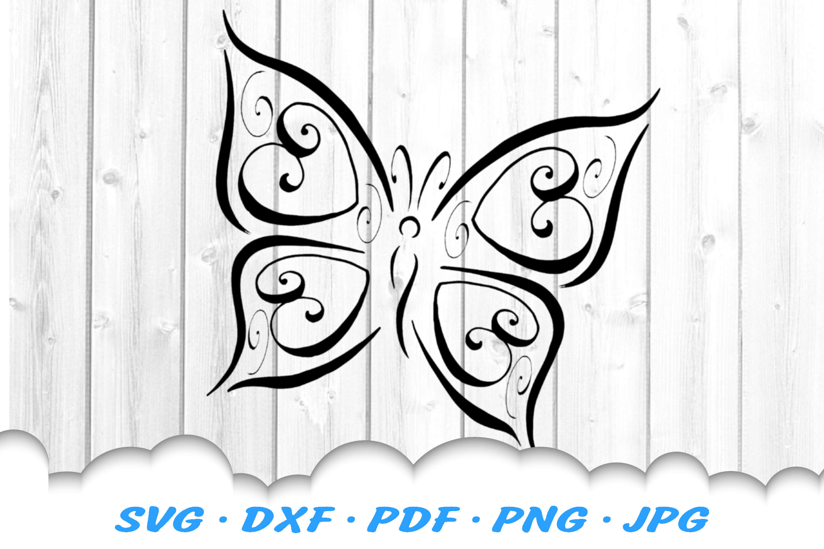 Tribal Butterfly Scroll Hearts SVG DXF Cut Files Bundle example image 2