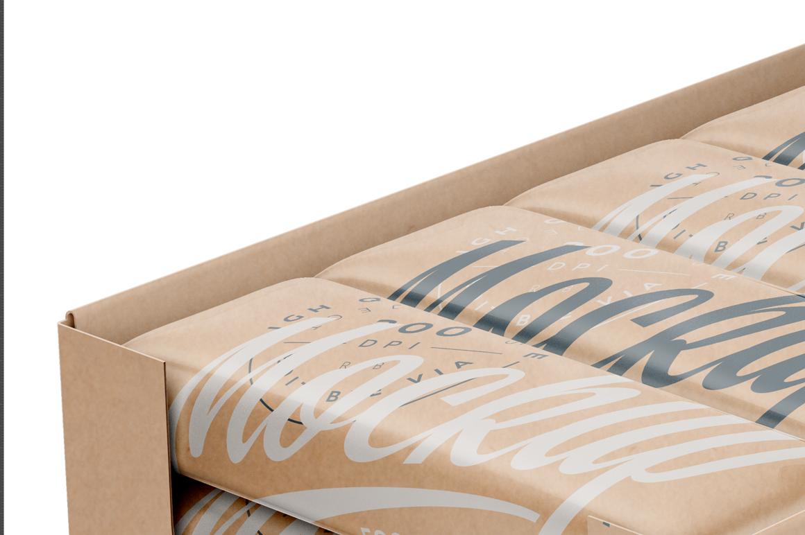 20 Kraft Snack Bars Display Box Mockup example image 3