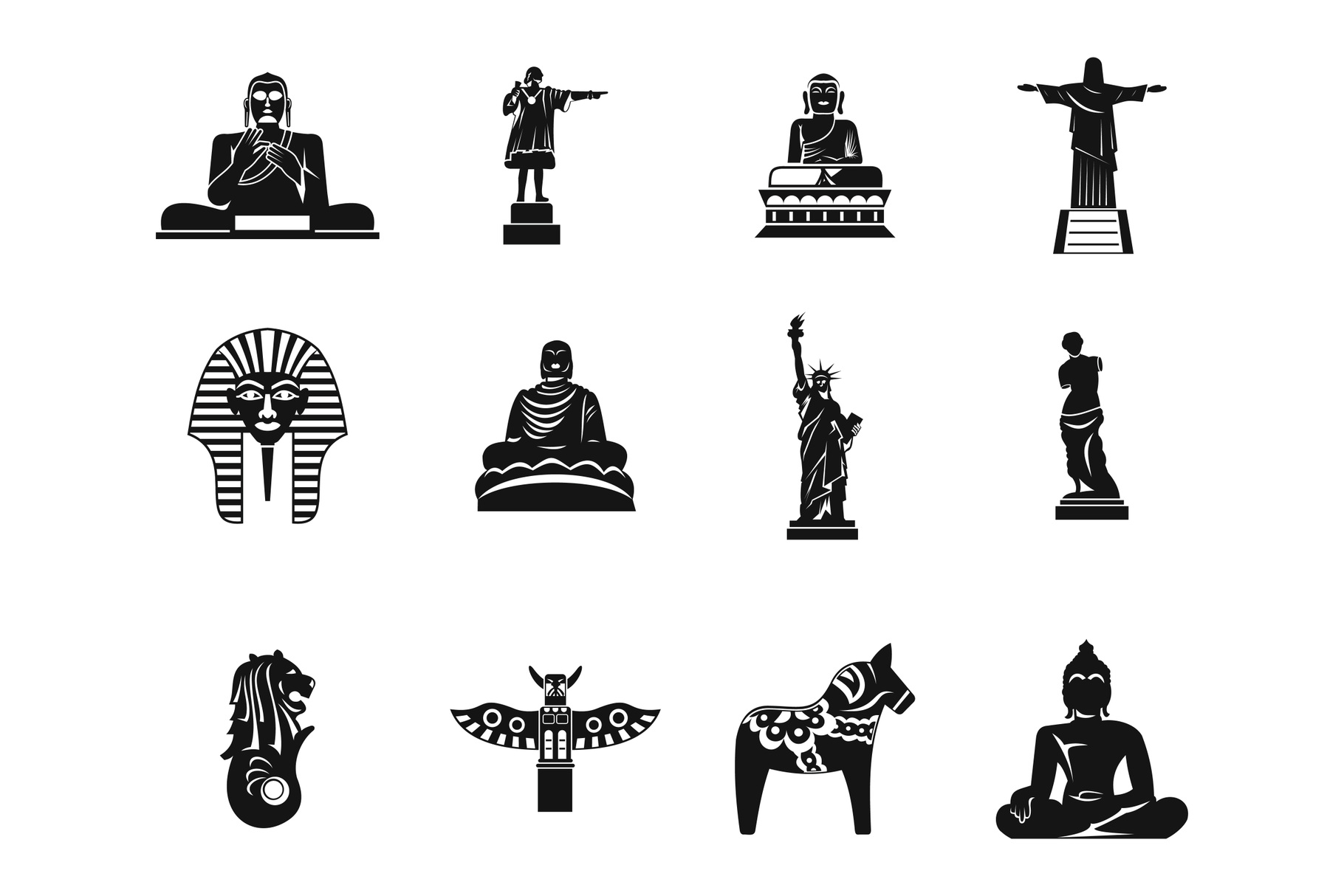 Statue icon set, simple style example image 1
