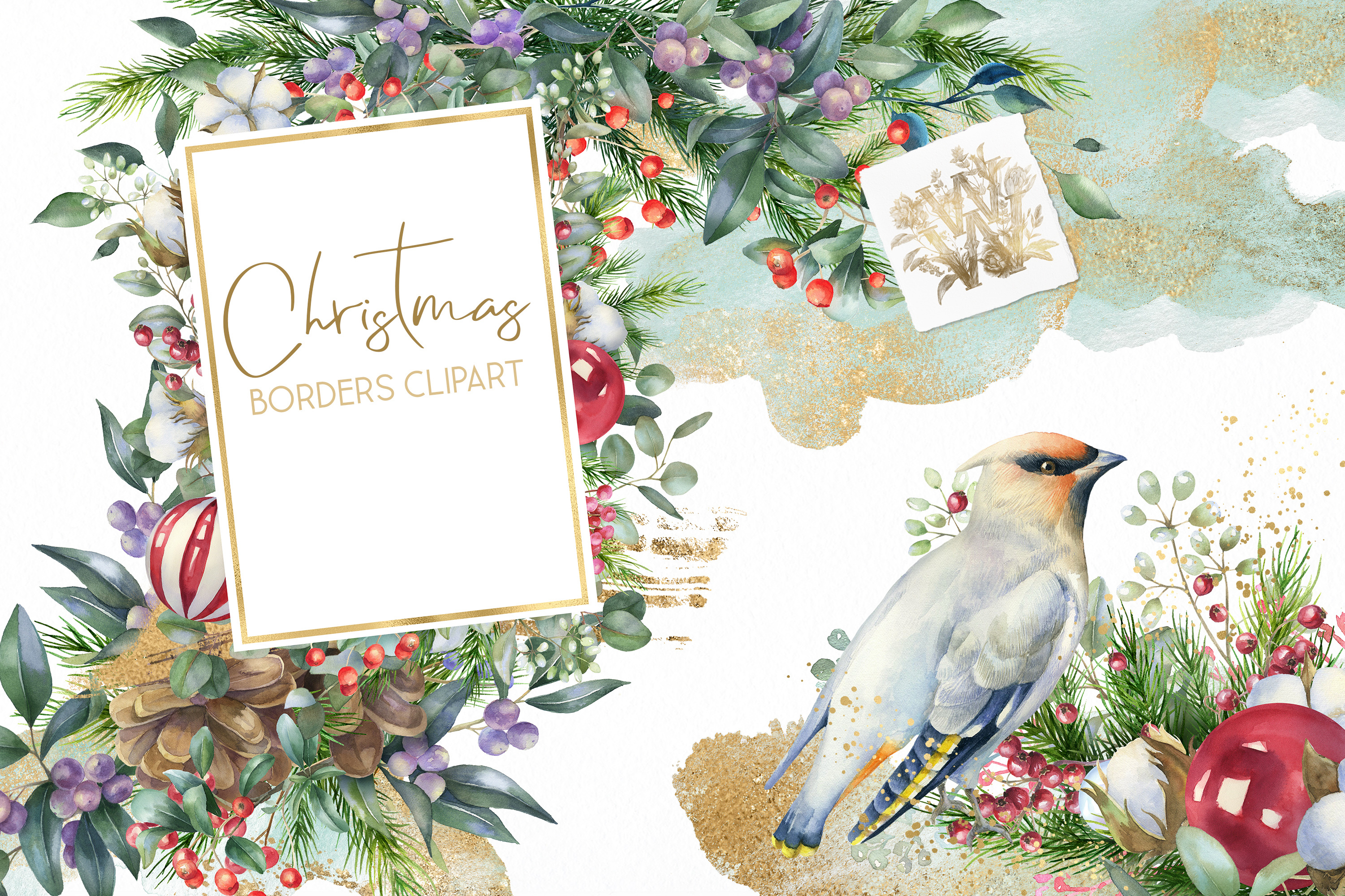 Christmas Watercolor Floral bouquets clipart, Winter wedding example image 1