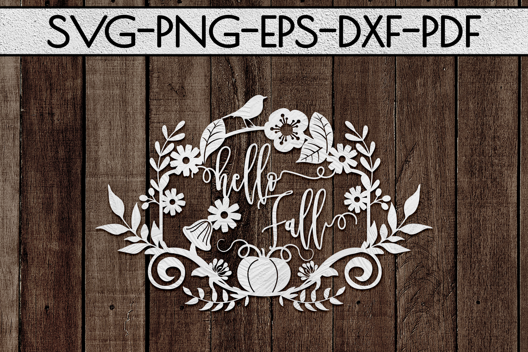 Hello Fall SVG Cutting File, Leaves, Autumn DXF, EPS, PNG example image 2