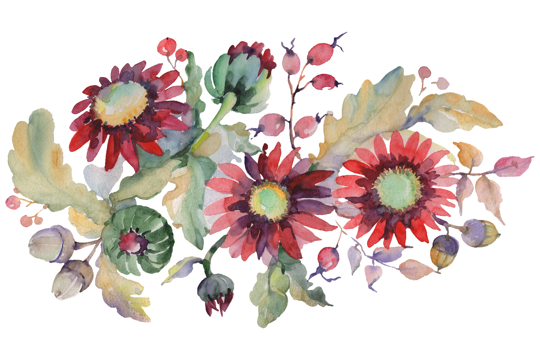Autumn Bouquet with sunflowers Watercolor png example image 1