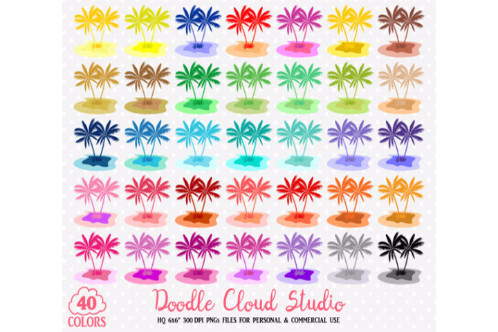 40 Colorful Tropical Island Clipart Travel Summer Holyday sea planner stickers PNG with Transparent Background for Personal & Commercial Use example image 2